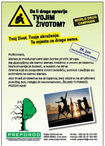 """Organizacija: """"Preporod"""" – Organizacija za borbu protiv bolesti zavisnosti, Nikšić"""