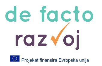 Podržano još 6 NVO kroz program De facto Razvoj